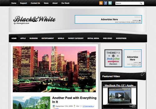 BlackWhite free WordPress theme