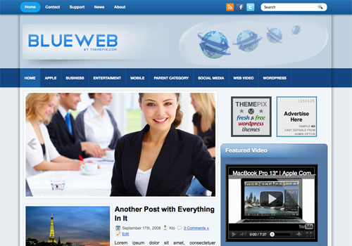FREE BlueWeb Wordpress Theme