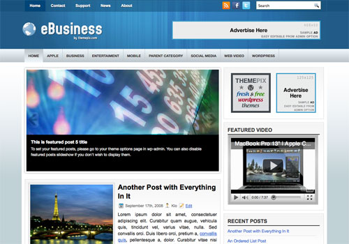 eBusiness Screenshot