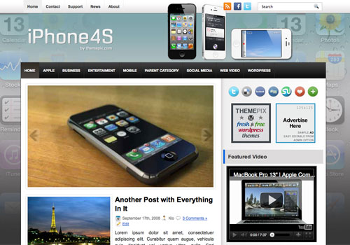 iPhone4S free WordPress theme