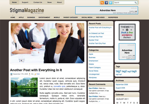 StigmaMagazine free WordPress theme