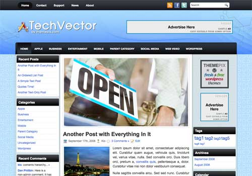 TechVector free WordPress theme