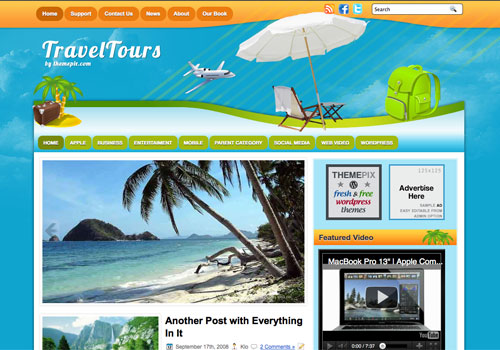 TravelTours free WordPress theme